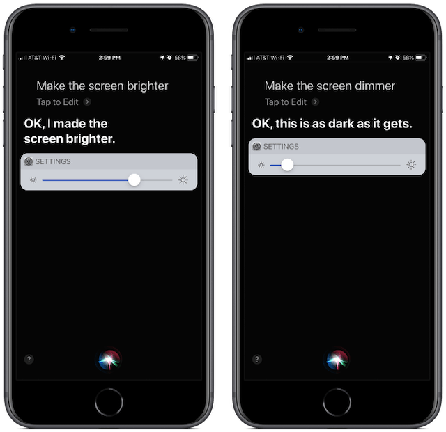 Screenshots: Siri on iPhone 8 Plus, making screen brighter and dimmer.