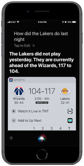 Screenshot: ask Siri how your team did.