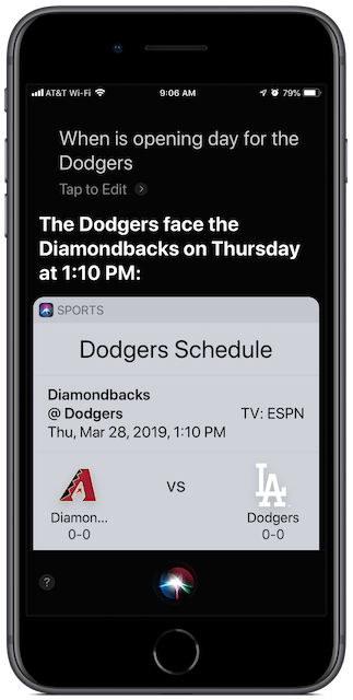 Ask Siri when the game will start.