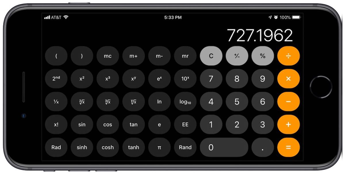 iPhone calculator sideways