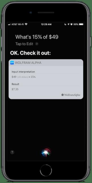 Screenshot: Siri doing more math.