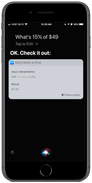 Screenshot: Siri doing more math.