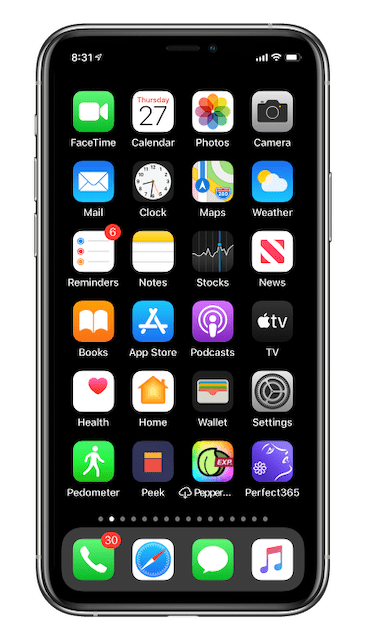 Home Screen 1 after resetting