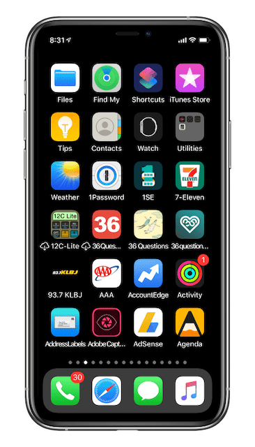 Home Screen 2, after resetting