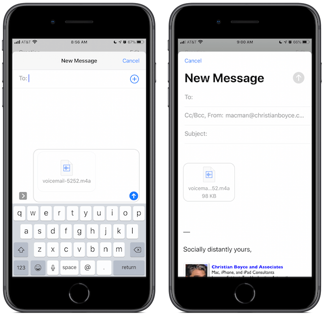 You can share the voicemail via Messages or Mail.