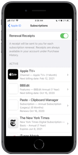 Subscriptions in iOS Settings