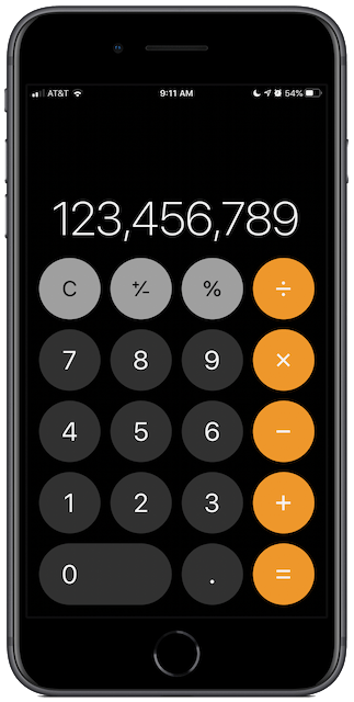 iPhone Calculator, vertical orientation