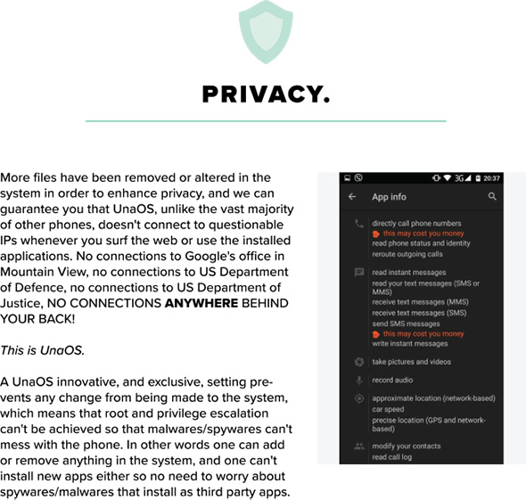UnaPhone privacy copy