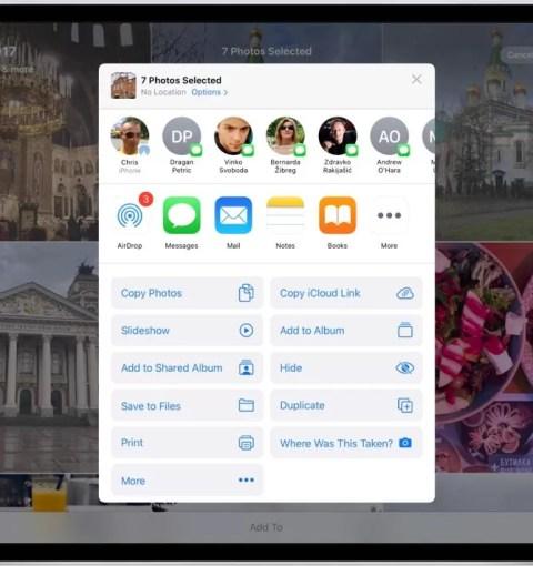 Новое меню Поделиться в iPadOS 13