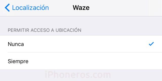 Ajustes de localización de Waze