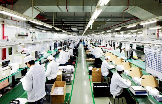 Interior de una de las fábricas del iPhone