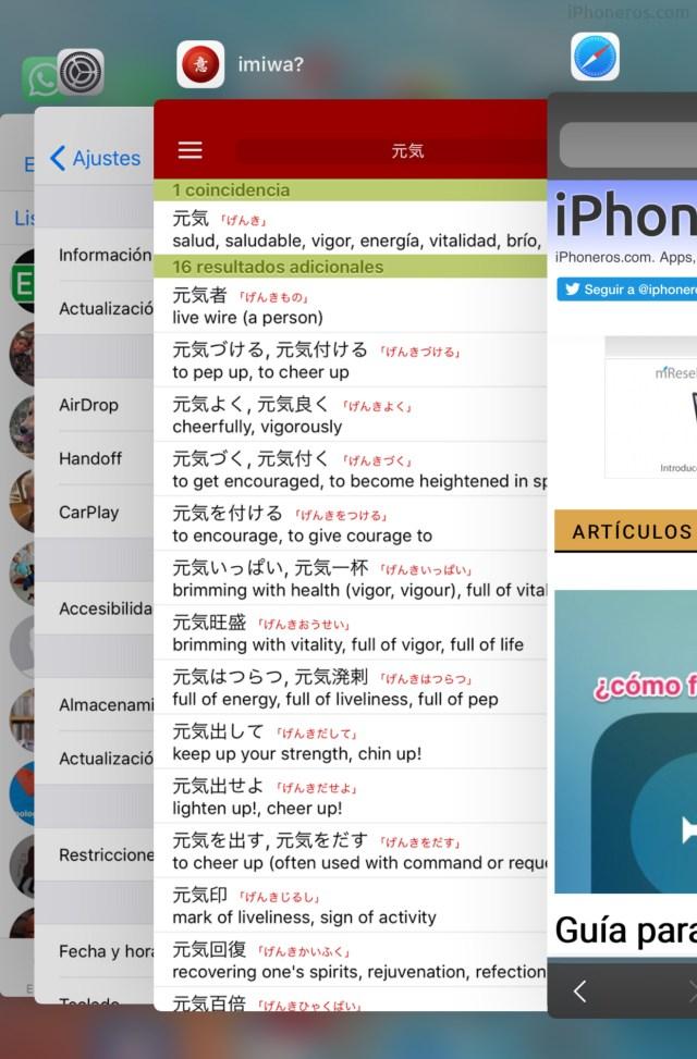 Lista de Apps abiertas últimamente o modo multitarea en iOS℗ 11