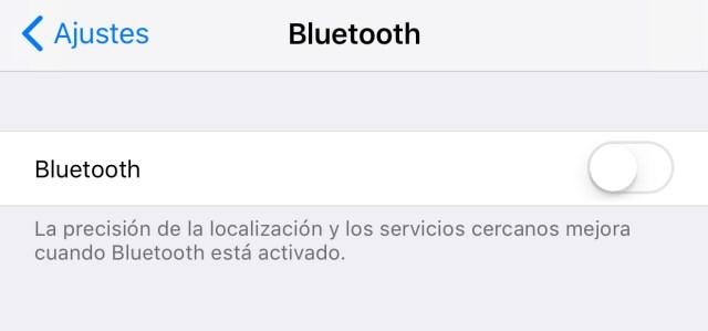 Radio Bluetooth efectivamente apagada en iOS℗ 11