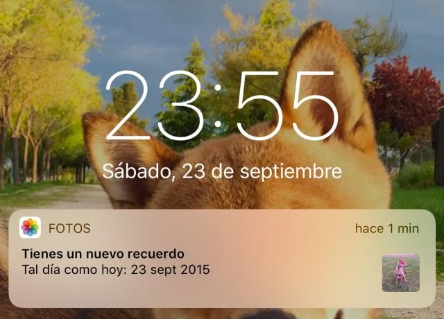 Notificaciones de la App de Fotos (tal día como hoy)