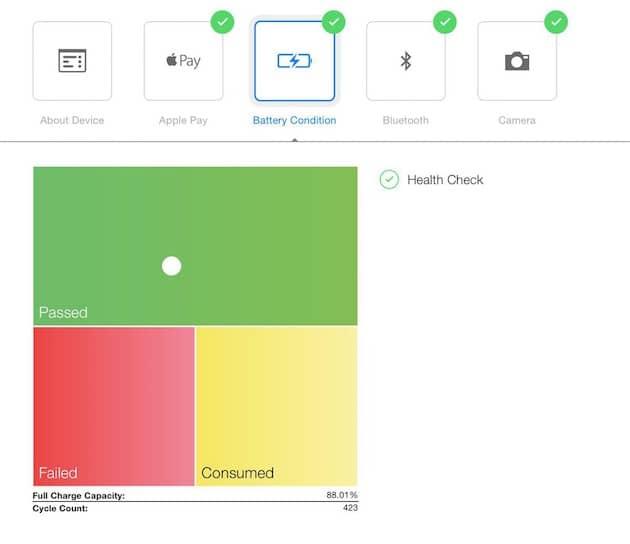 Examen de salud de batería en una <stro data-recalc-dims=