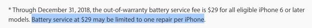 Cambios de batería a 29€ limitados a una sola vez