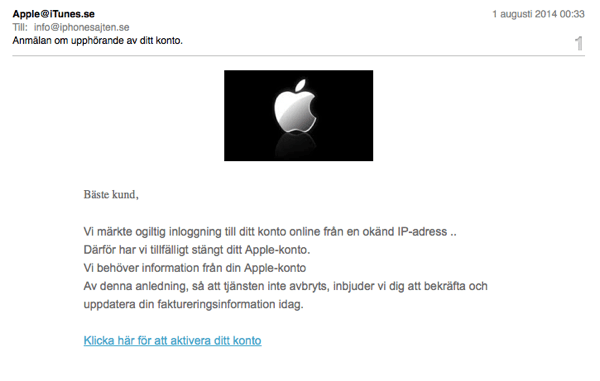 Apple phishing fake