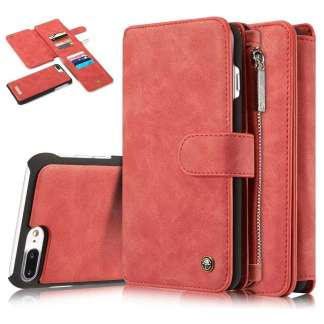 CaseMe Retro Portemonnee Hoesje iPhone 7/8 Plus  - Rood