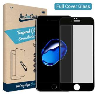 Just in Case Full Cover Tempered Glass iPhone 8/7 (Zwart)