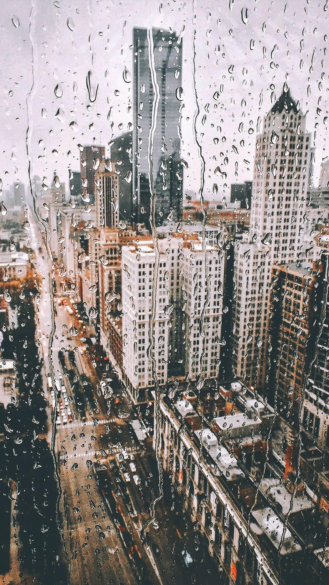 New York City Rain From Glass Iphone Wallpaper Iphone