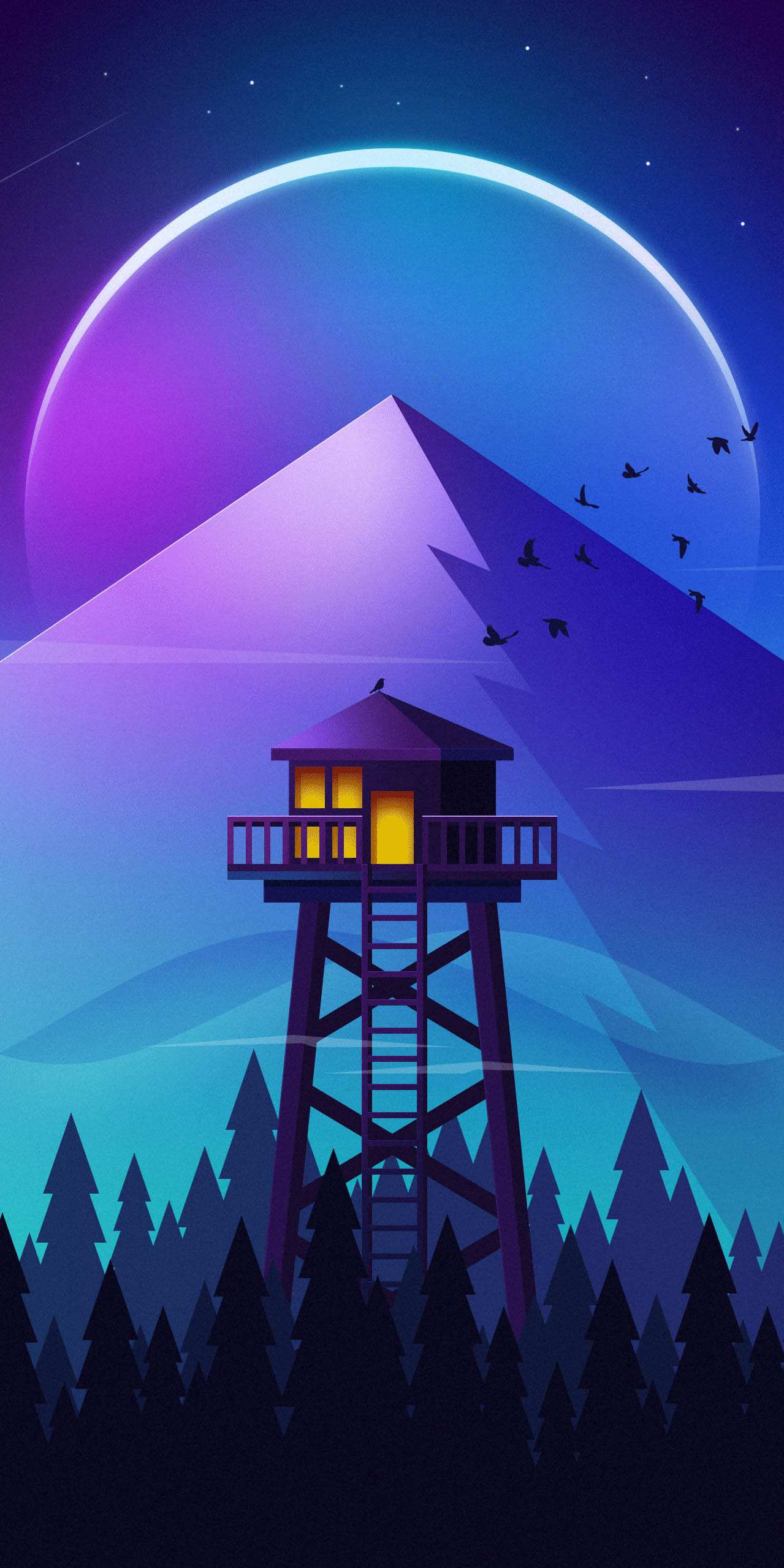 Minimal Watch Tower Forest Iphone Wallpaper Iphone