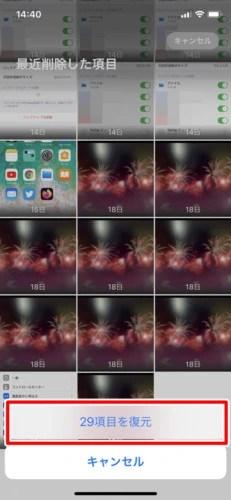 iPhoneの「最近削除した項目」から写真を復元する (6)