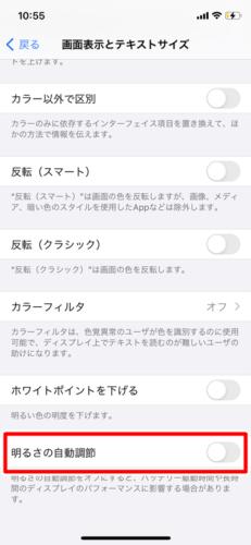 iPhoneの明るさの自動調節をオフにする (2)