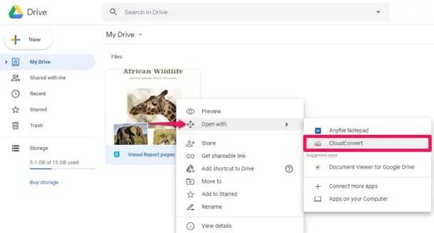 Как конвертировать файл подкачки в Google Doc с помощью CloudConvert
