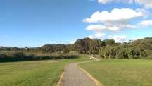 Walking along by the golf course entrance, towards the swimming pond! There's a gorgeous German Shepherd running up ahead!