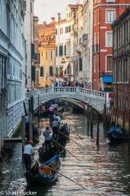 Gondolas along the canals in Venice, Italy