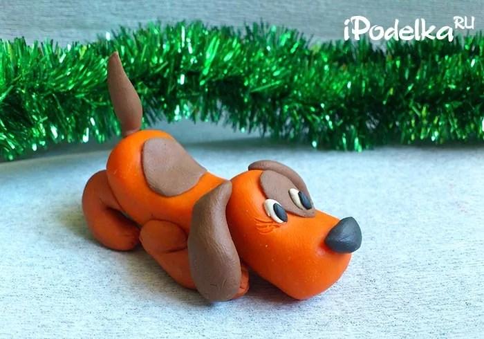 Puppy màu cam cho năm mới từ plasticine