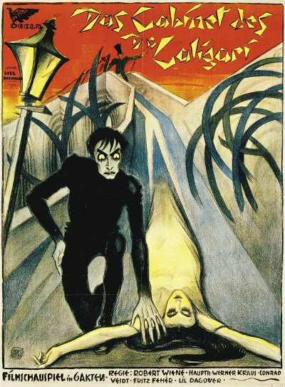 Movie poster of Caligari – Atelier Ledl Bernhard [PD], via Wikimedia Commons