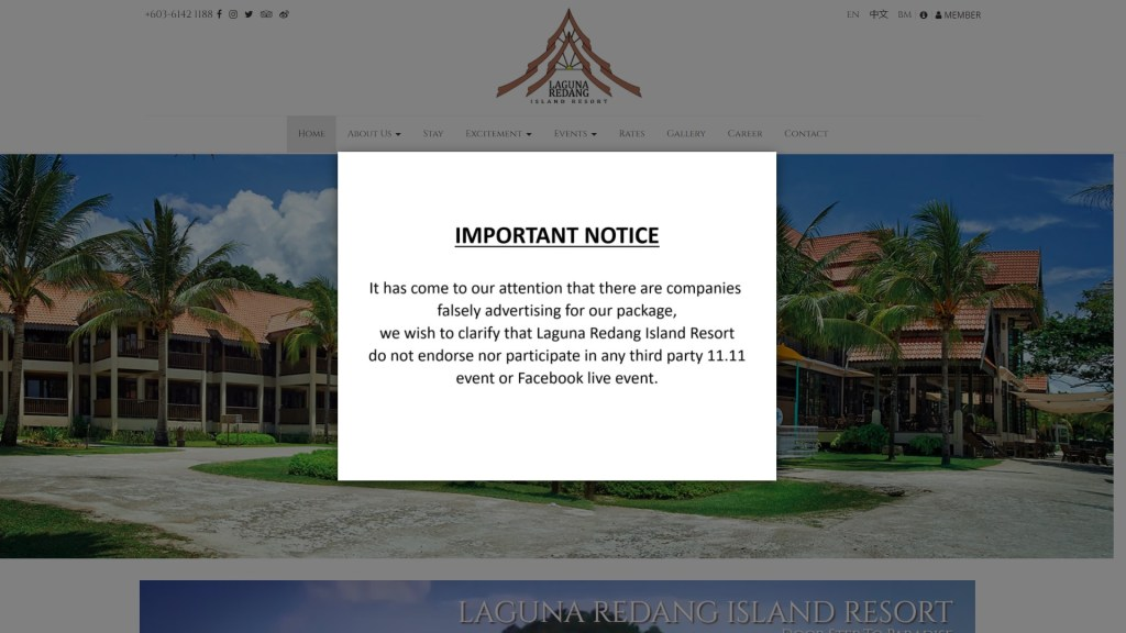 Notice is shown at Laguna Redang Island Resort's homepage after the scam case on 11th November 2020
