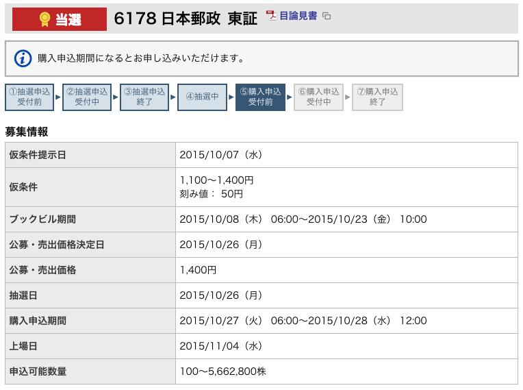 東海東京証券 日本郵政 当選