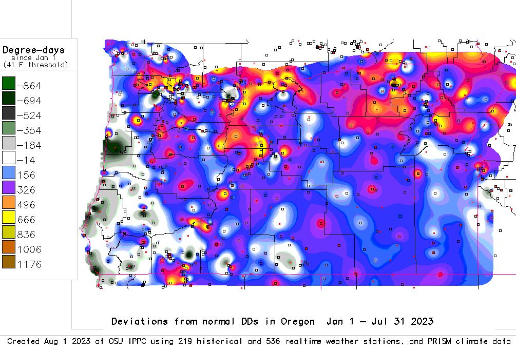 Oregon Degree Days Deviation Map 41 F