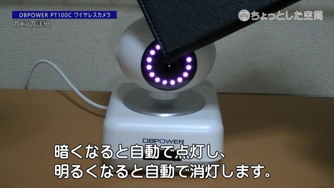 赤外線ライトのセンサーは、レンズの上にあります。