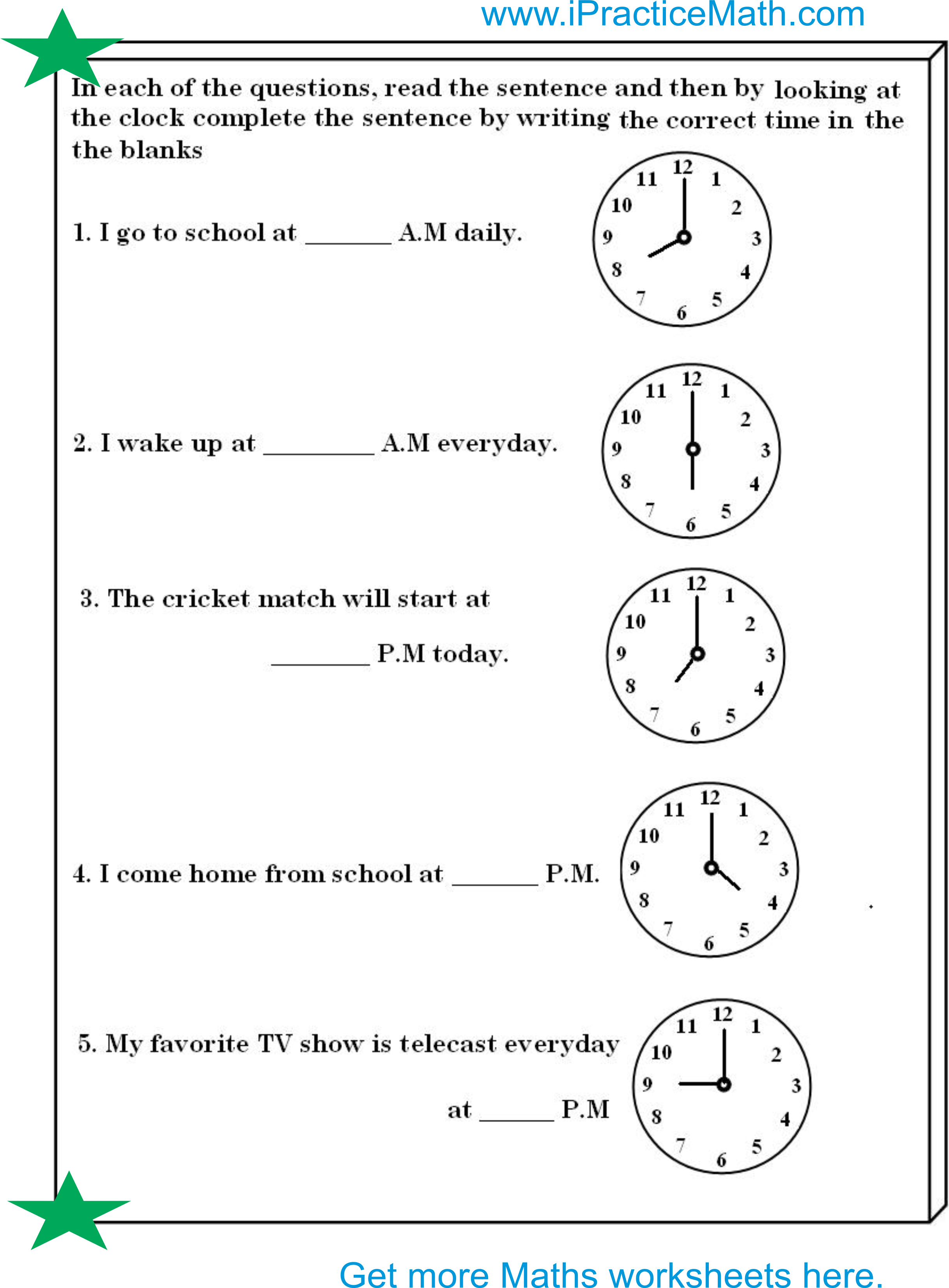 Download Clock Worksheet Grade 2 Worksheets Images