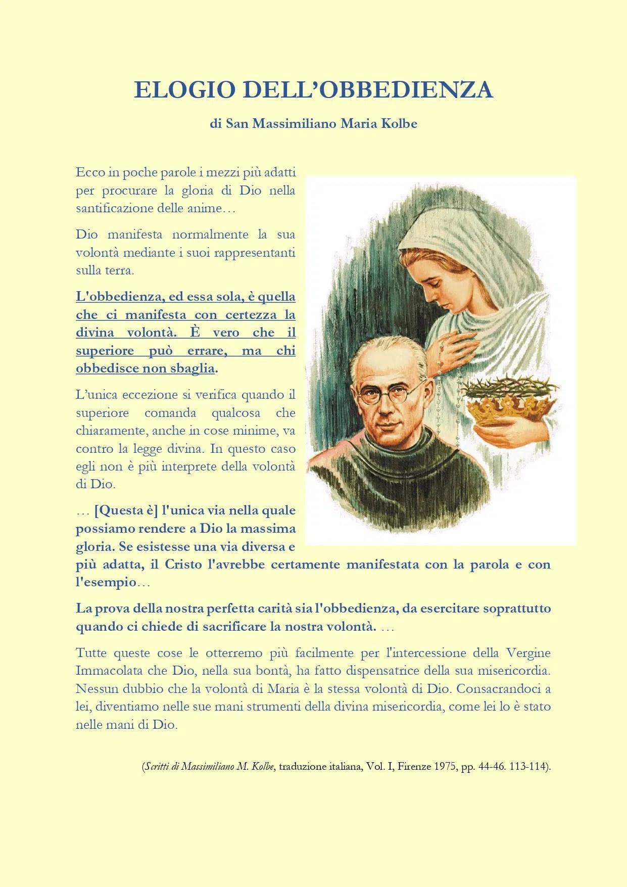 """Read more about the article """"Chi obbedisce non sbaglia"""" San Massimiliano Maria Kolbe"""