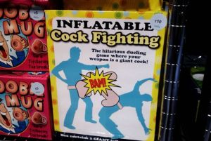 Inflatable cock fighting toy