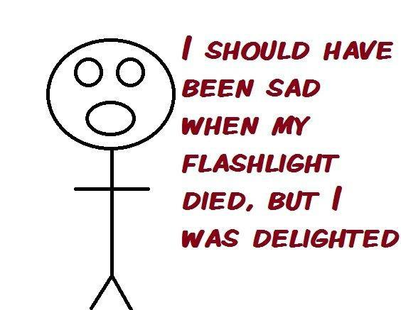 I should have been sad when my flashlight died, but I was delighted - cartoon - meme