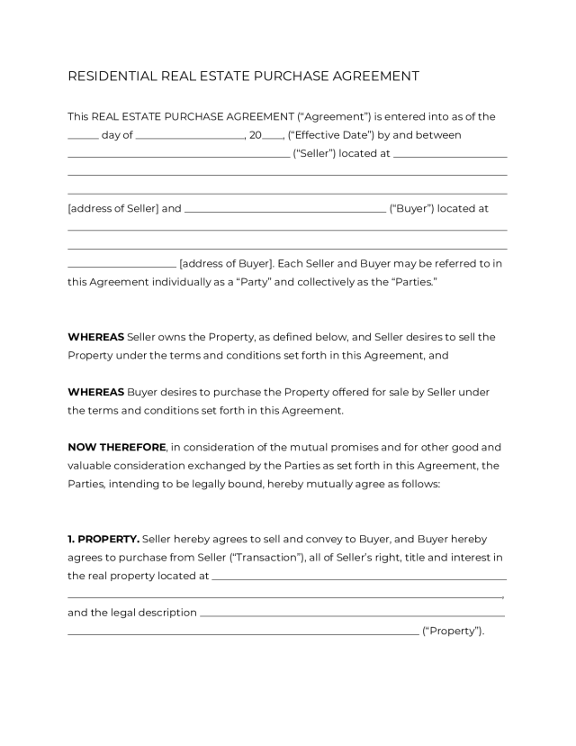 Real Estate Purchase Agreement Form [21]  OFFICIAL PDF