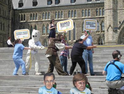 Canada protest tug of war.