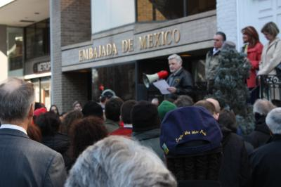 Protesters gathered outside the Mexican embassy in Washington DC
