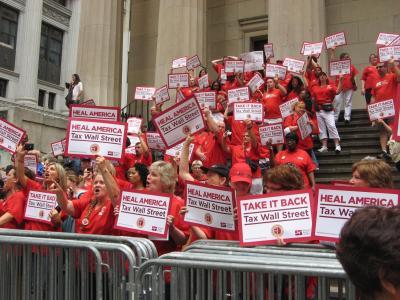 Nurses rally for a financial transaction tax. Photo by Marlee Blasenheim.