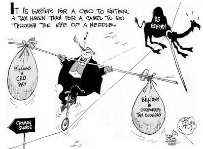 Easier for a CEO to Enter a Tax Haven than for a camel to go through the eye of a needle.