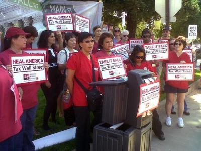 Nurses support taxing Wall Street to heal America. Photo by National Nurses United