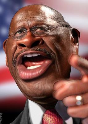 Herman Cain has a warped sense of humor. Cartoon by DonkeyHotey.