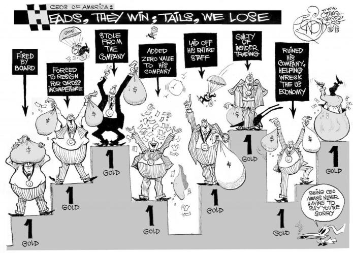 Heads They Win, Tails We Lose, an OtherWords cartoon by Khalil Bendib
