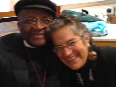 Phyllis with Archbishop Desmond Tutu in Cape Town.
