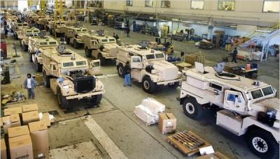 Military vehicles (MRAPs) being produced in a Charleston, SC factory (Photo: New York Times)